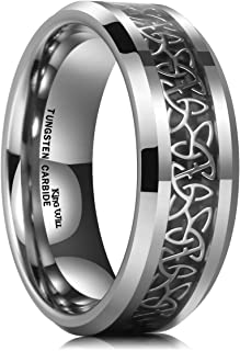 Classic 8mm Tungsten Carbide Ring Wedding Band for Men Inlay Celtic Knot Engagement Ring Comfort Fit