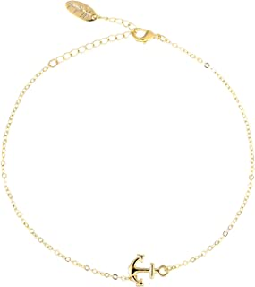 Friendship Gift Handmade Dainty Anklet 14K Gold Plated/Silver Plated Star Lucky Beads Lace Chain Adjustable Foot Chain for Womens