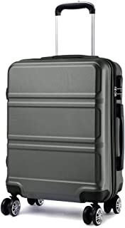 """KONO 20 inch Suitcase Hard Shell Carry-on Hand Luggage with 4 Spinner Wheels Lightweight ABS Trolley Case Travel Bag (20"""", Gray 1871)"""