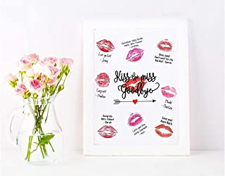 Kiss the Miss Goodbye 8.5x11 inch Cardstock Canvas Print Unframed Guestbook, Bachelorette, Bridal Shower Game, Poster **PICTURE FRAME NOT INCLUDED**