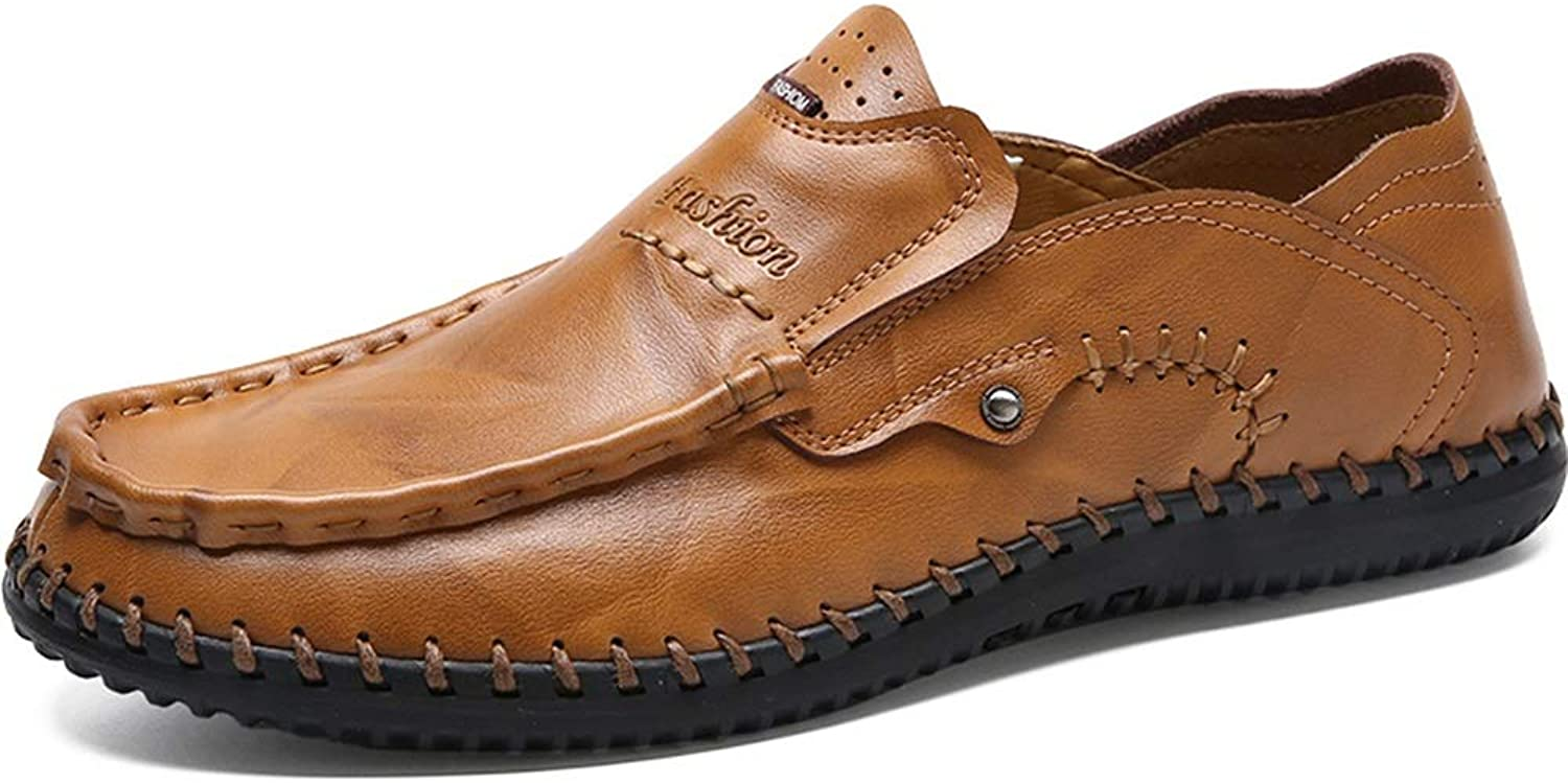 Easy Go Shopping Loafer For Men Boat Moccasins Slip On Style OX Leather Round Toe Handtailor Low Top Soft shoe Cricket shoes (color   Yellowish-brown, Size   7.5 UK)