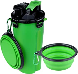 Szxc Dog Water Bottle Food Container 2-in-1 with Collapsible Bowls - Outdoor Pet Feeding Dispenser for Hiking Travel - 1 Q...