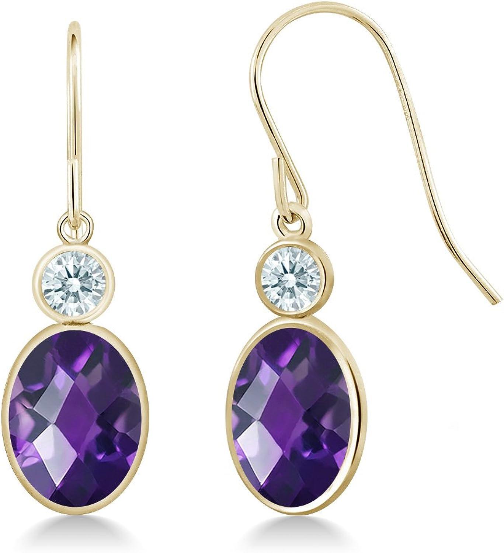 2.22 Ct Purple 14K Yellow gold Earrings Made With Swarovski Zirconia
