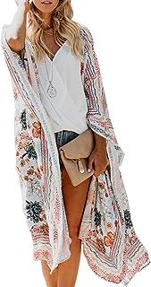 Women's Flowy Floral Print Kimono Sheer Chiffon Long Cardigan Beach Cover Up Loose Summer Tops