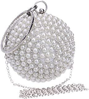 Fine Bag/Women's Beaded Sequin Pearl Clutch Bag - Vintage Beaded Evening Bag, Bridal Bag, Clutch Bags for Wedding, Party Banquet Bag (Color : White, Size : One Size)