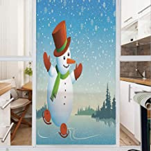 Decorative Window Film,No Glue Frosted Privacy Film,Stained Glass Door Film,Cartoon Happy Character Skating on Icy River Forest Trees Snowy Country,for Home & Office,23.6In. by 35.4In Blue Vermilion G