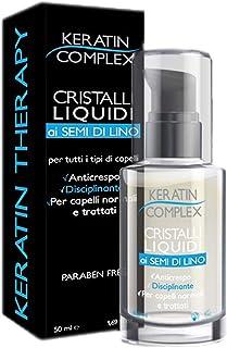 Cristalli liquidi Keratin Complex ai semi di lino - Disciplinante e Anticrespo per tutti i tipi di capelli normali, tratta...