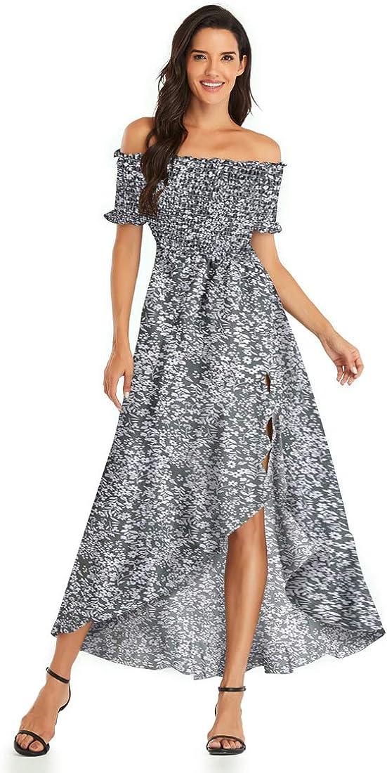 Womens Off Shoulder Floral Dress High Low Hem Split Party Maxi Dress