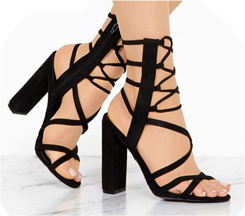 Women Summer Flock Sandals High Heels Square Heels Zipper Closure Gladiator Party shoes Sapato Feminino