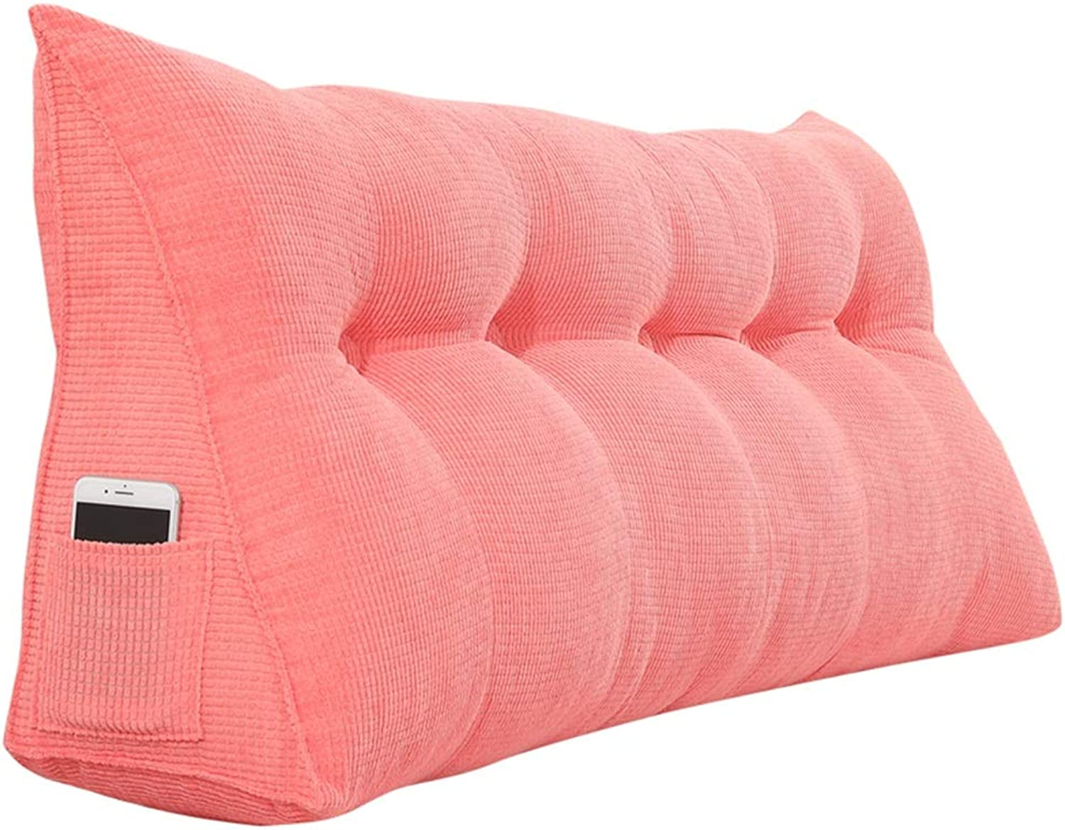 LXLIGHTS Headboard Bedside Cushion Backrest Waist Pad Bed Wedge Bay Window Sofa Pillows, Easy to Install Removable (color   Pink, Size   60  50  22cm)