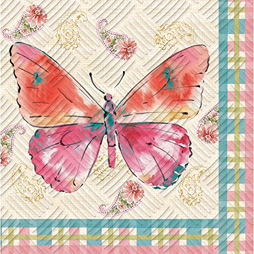 Cypress Home Watercolor Floral Embossed Paper Cocktail Napkin, 20 count