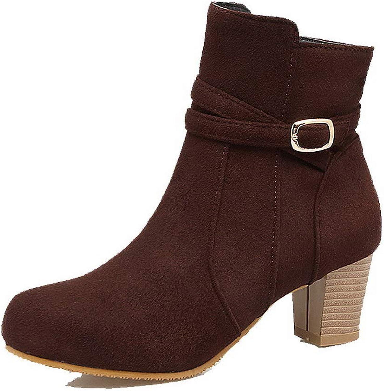 WeiPoot Women's Solid Frosted Kitten-Heels Zipper Round-Toe Boots, EGHXH121513