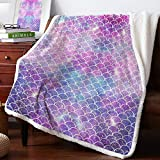 Sherpa Fleece Throw Blanket 39 x 49 Inches Mermaid Scales Fuzzy Soft Flannel Blanket Reversible Ultra Luxurious Plush Blanket for Bed Couch Sofa- Geometric Lilac Purple Pink Glare Ocean Theme