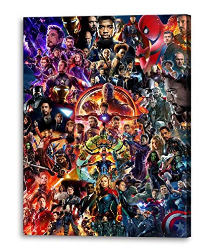 Marvel Posters Avengers Alliance Characters Wall Art Canvas Painting Framed Marvel HD Print Pictures for Bedroom Home Decoration (24''W x 36''H)