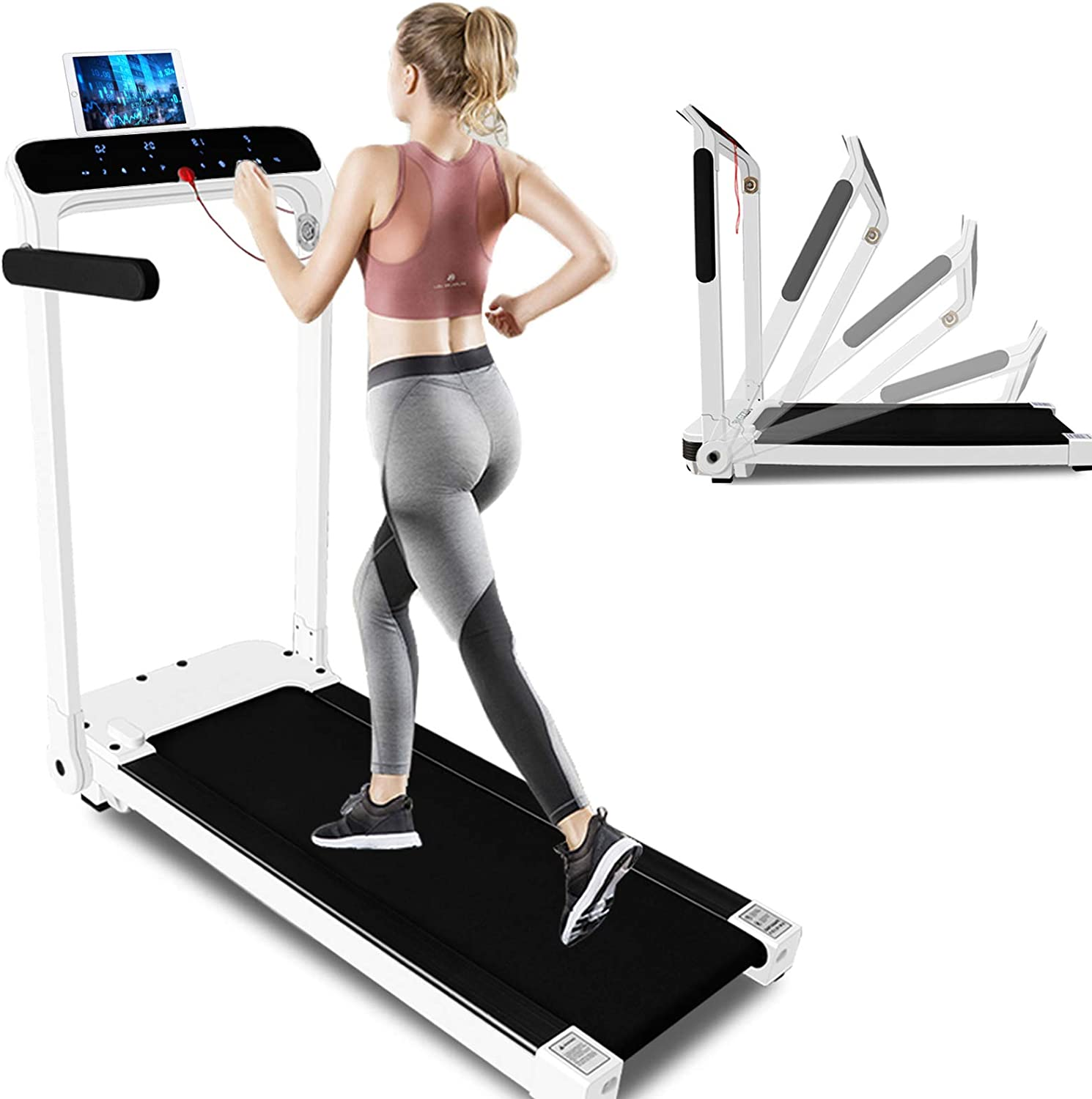 Electric Motorized Workout Running Machine with LED Touch Display Folding Treadmill Safe Key and Tablet//Phone Holder for Home Gym Office Space Saver Adjustable Armrest Installation-Free