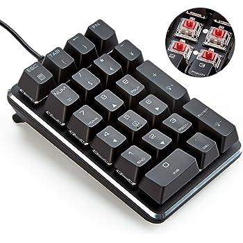 テンキーボード メカニカル式テンキーパッド 赤軸 21キー USB接続 ブラック Windows Mac 対応