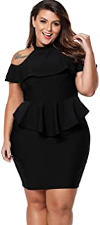 Lalagen Women's Plus Size Cold Shoulder Peplum Dress...