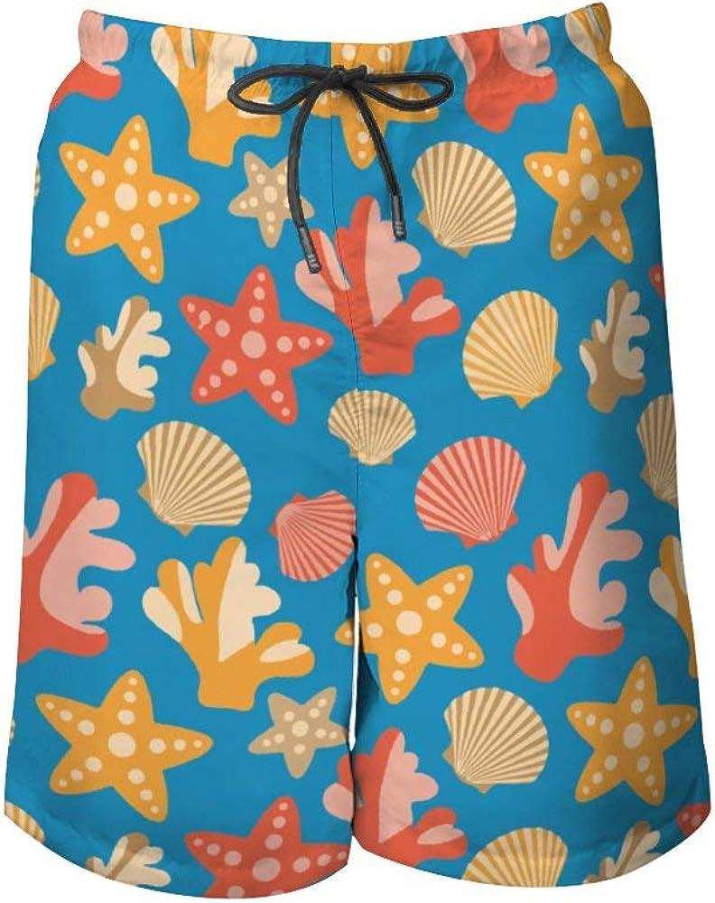 NiYoung Men Casual Swim Trunks Drawstring Elastic Waist Summer Beach Board Shorts