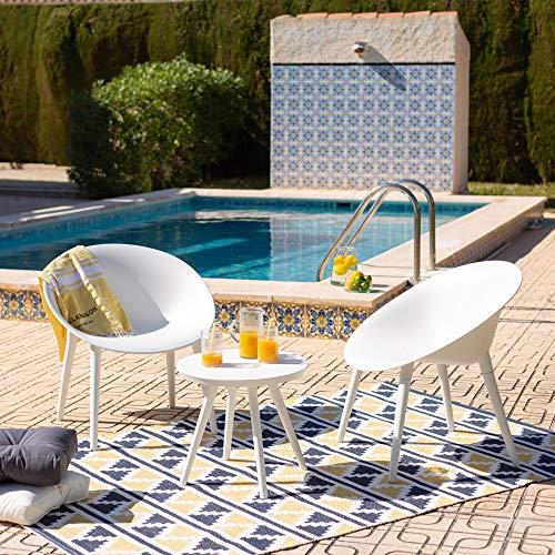 DLM Design Salon de Jardin 2 Places Blanc Marbella