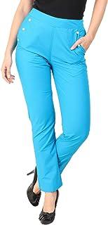 Makxziya Women's Blue Regular Fit Rayon Trouser