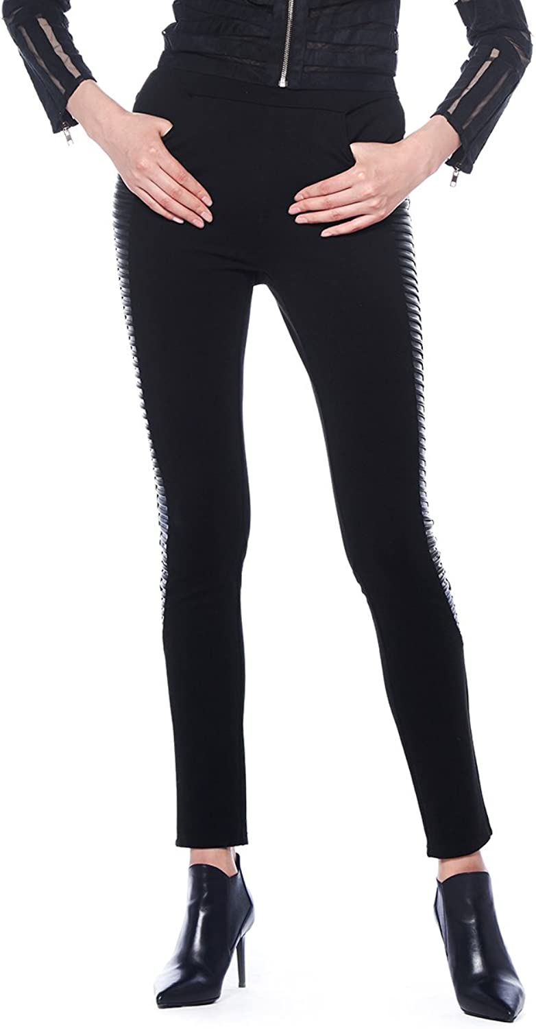 Gracia Repeat The Layering Leather Detail Pants