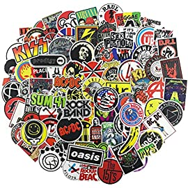 100Pcs Music Band Stickers for Guitar Laptop Bass Piano Violin Drum Skateboard Travel Case Water Bottle Phone Cool Rock…