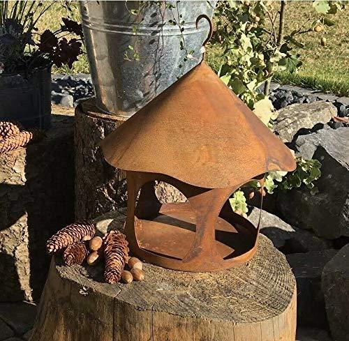 villa-lilla Edelrost Vogelhaus rund Futterhaus Rost Deko Gartendeko Metall Laterne 28 cm