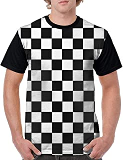 9 Men's T-Shirts 3D Checkerboard Squares Black & White Print Short Sleeve Shirts Tees