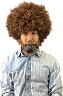 brown afro wig and beard