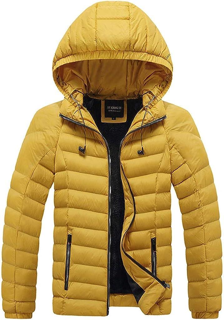 Men's Zipper Hoodies Jacket Long Sleeve Down Warm Soft Winter Windproof Coat Outwear