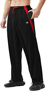 ZEROWELL Men's Atheltic Pants with Zipper Pockets Open Bottom Lightweight Sweatpants, for Workout, Running, Gym, Training