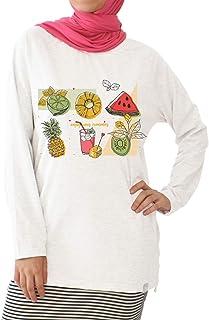 Nas Trends Summer Fruits Print Long Sleeves Crew Neck Cotton Shirt For Women