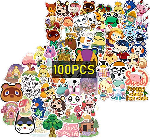 Animal Crossing Stickers 100Pcs (with New Horizons Animal Keychain) Gifts Animal Crossing Birthday Party Supplies Merchandise Vinyl Decal for Computer