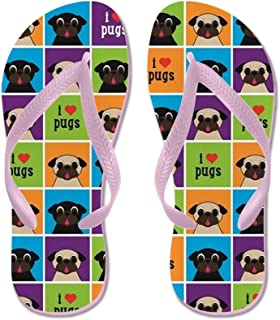 I Love Pugs Sm Color Squares Beach Sandals