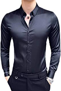 CRYYU Men Dress Shirt Long Sleeve Regular-Fit Satin Button Front Shirts