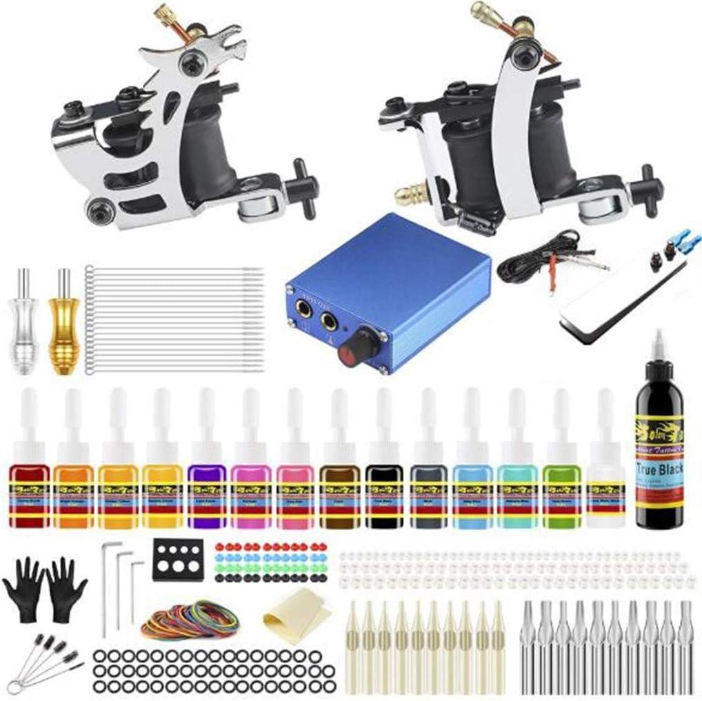 TK213 equipos kit tatuaje, El kit tatuaje es un juego completo 2 ametralladoras bobinado Pro, tatuaje LED kit alimentación profesional para revestimientos y shaders, Certificación CE, Excluyendo tinta