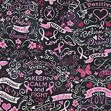Timeless Treasures Fabrics Breast Cancer Awareness Fabrics Pink Ribbon Chalkboard