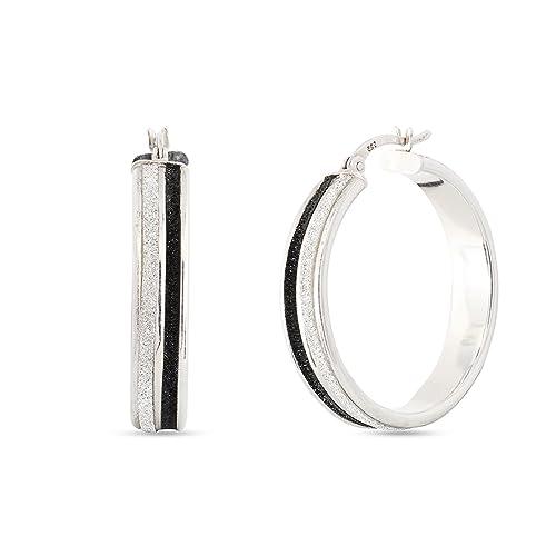 1a1037e1f LeCalla Sterling Silver Jewelry Light Weight Round Black Glitter Hoop  Earrings for Women