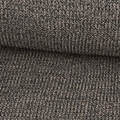 Nooteboom textiel gebreide stof grof gebreid melange versierde taupe zwart 1,47 m breedte