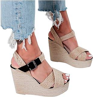 Dainzuy Women's Open Toe T-Straps Wedge Sandals Fashion Casual Ankle Strap Espadrilles Heels Platform Sandals