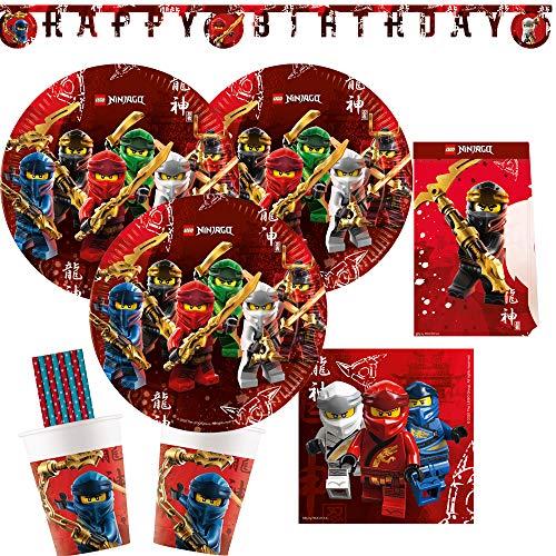 spielum Set de fiesta de 53 piezas de Lego Ninjago, platos, vasos, servilletas, guirnalda y pajitas de papel para 8 niños