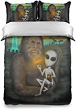 GZWNyuv Aliens and Bigfoot Kids Bedding Sheets 100% Cotton Duvet Cover 3-Piece Printed Quilt Set