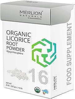Organic Licorice Root Powder by Merlion Naturals | Glycyrrhiza glabra | USDA NOP Certified 100% Organic | for Healthy Hair...