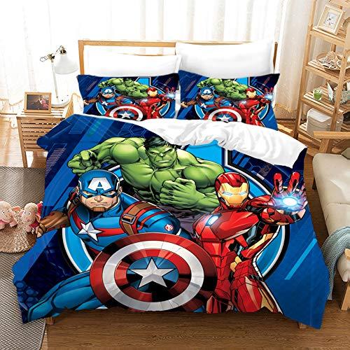 DAMEILI - Juego de cama, 100 % microfibra, funda nórdica y funda de almohada, estampado digital, modelo 3D, infantil, de los Vengadores de Marvel Comics