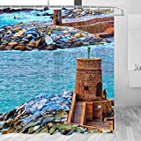 Italia Recco Génova cortina de ducha viaje baño decoración conjunto con ganchos poliéster 72x72 pulgadas (YL-03233)