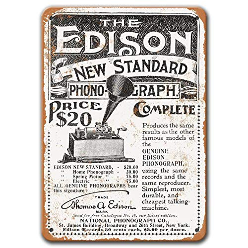 Agedsign Edison New Standard Phonograph Poster, Vintage Metal Wall Art 1898 Edison New Standard Phonograph Tin Sign for Coffee Man Cave Bar Home Decor 8x12 Inches