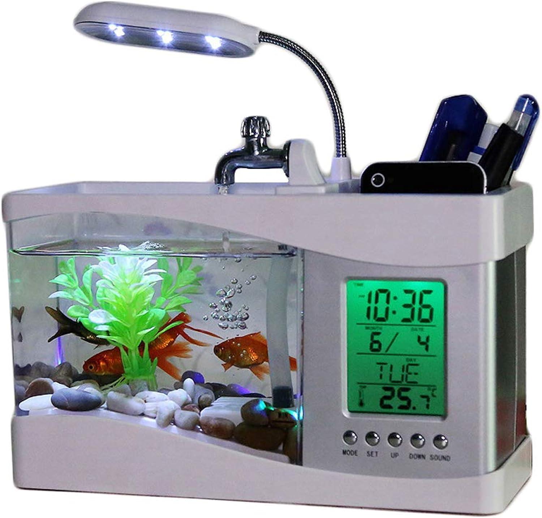 Mini Aquarium Desk Pen Holder Desktop Mini Aquarium Desk Aquarium with LED Lights Music Alarm Clock,White
