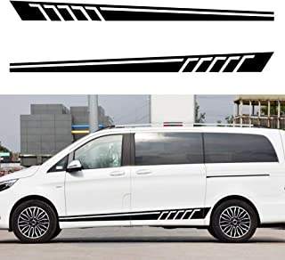 carado Racing Body Side Stripe Skirt Roof Hood Decal Sticker for Benz C Class Vito Viano Vinyl Sport Badge Car Styling Accessories Black 1 Pair