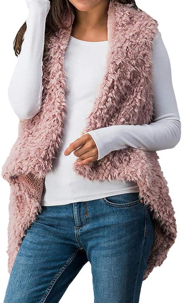 Cutecc Women Winter Warm Sleeveless Faux Fur Open Front Vest Coat