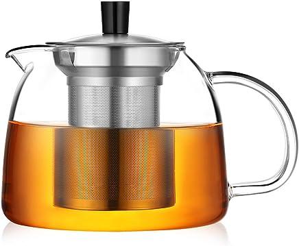ecooe Teekanne 1000ml Dickes Glas Teebereiter mit Abnehmbare Edelstahl-Sieb Glaskanne (1L) preisvergleich bei geschirr-verleih.eu